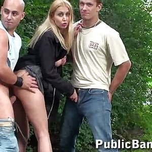 Gorgeous girl in public orgy on the street