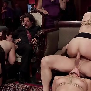 Hot babes whipped and fucked at orgy soiree