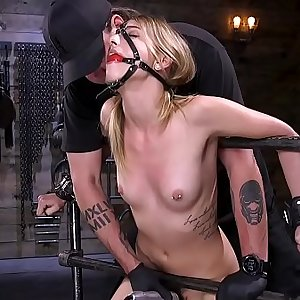 Blindfolded and tormented in device bondage