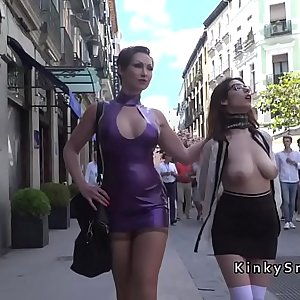 Naked big tits slave in public streets