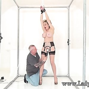 Lady Sonia manacled and teased with a vibrator