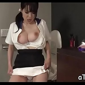 Biggest tits oriental stimulates her cunt with lusty insertions