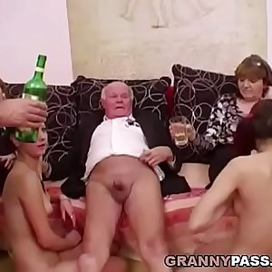 Young chicks dance for grandpa before suck his cock