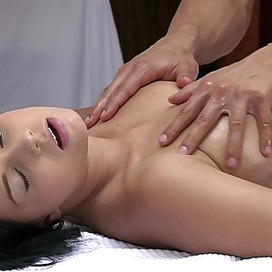 ORGASMS Beautiful young girl has her sexy body massaged and pleasured by hot stud