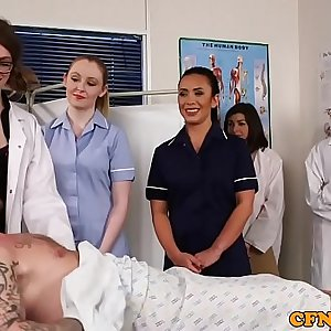 Cockcraving cfnm nurses wanking hard dick