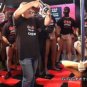 Guys gives gangbang sex with cumshots on lady