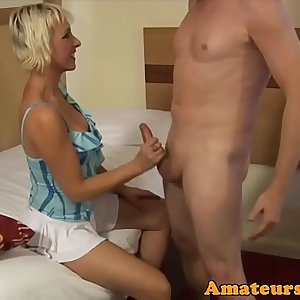 CFNM brit milf cocksucking and pulling cock