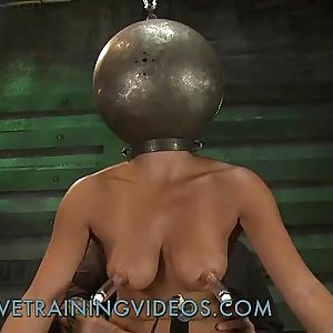 Busty dark-haired babe has been punished and pussy fucked by fake penis