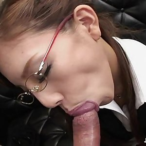 Frail Japanese whore munches on a fat dick