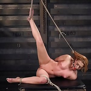 Hogtied brunette pussy banged with toy