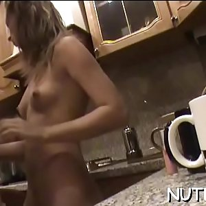 After kissing with handsome lad, pretty gets mounds sucked