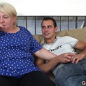 Blonde old granny gives head and rails him