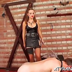 Hot bdsm festish with nasty mistress spanking her villein hard