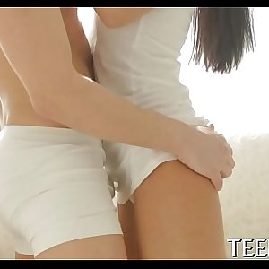 Chubby legal age teenager rides vertical shaft