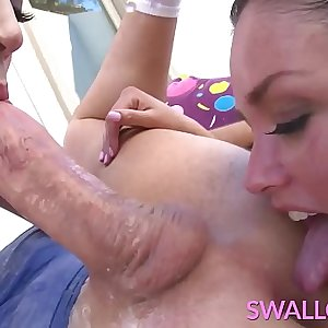 SWALLOWED Allie Haze and Lily Labeau gagging and sucking