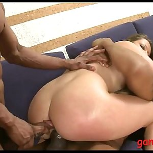 Pretty woman gets ass and cunt screwed by black dudes